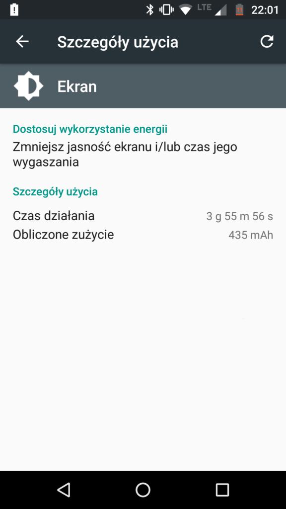 Typowy SoT używając cały dzień z sieci LTE (czasami WiFi)