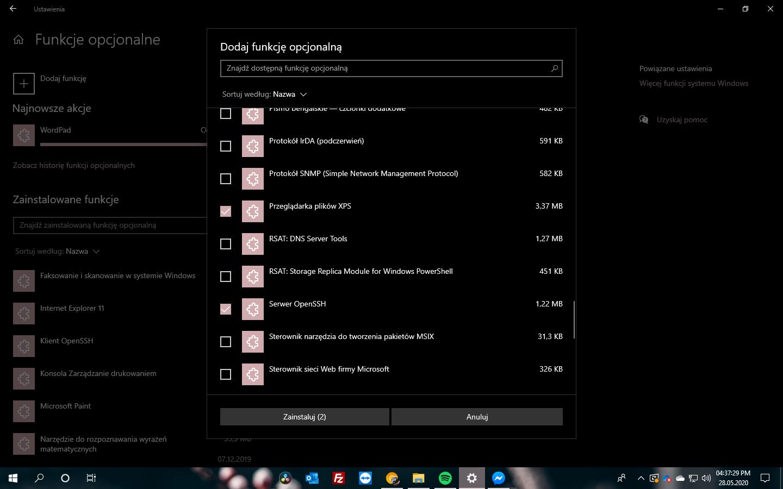Windows 10 2004 Update #11 - Przebudowana sekcja ustawień opcjonalnych funkcji