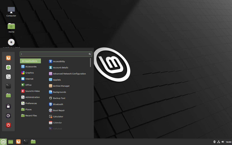 Linux Mint 20 Ulyana - Start Menu