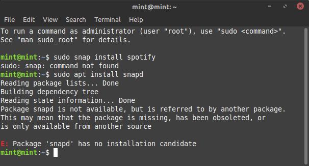 Linux Mint 20 Ulyana - Blocked Snap
