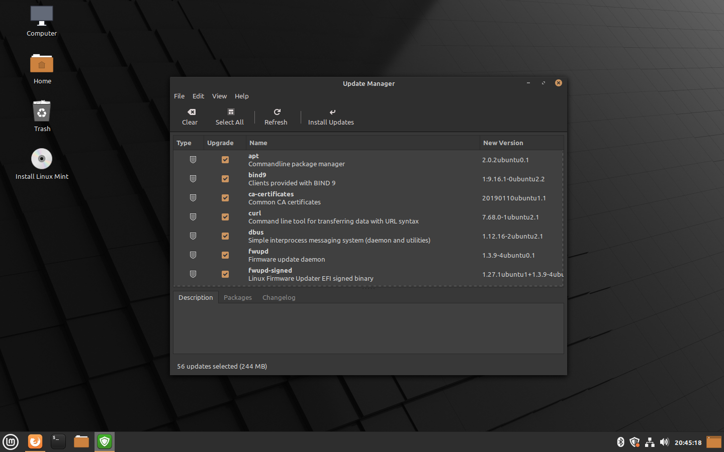 Linux Mint 20 Ulyana - Update Manager