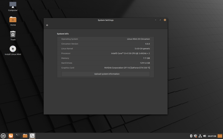 Linux Mint 20 Ulyana - System Info