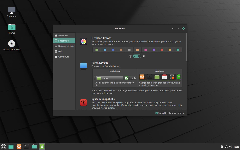 Linux Mint 20 Ulyana - Welcome Window