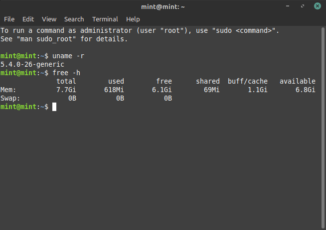 Linux Mint 20 Ulyana - Kernel & Memory Usage
