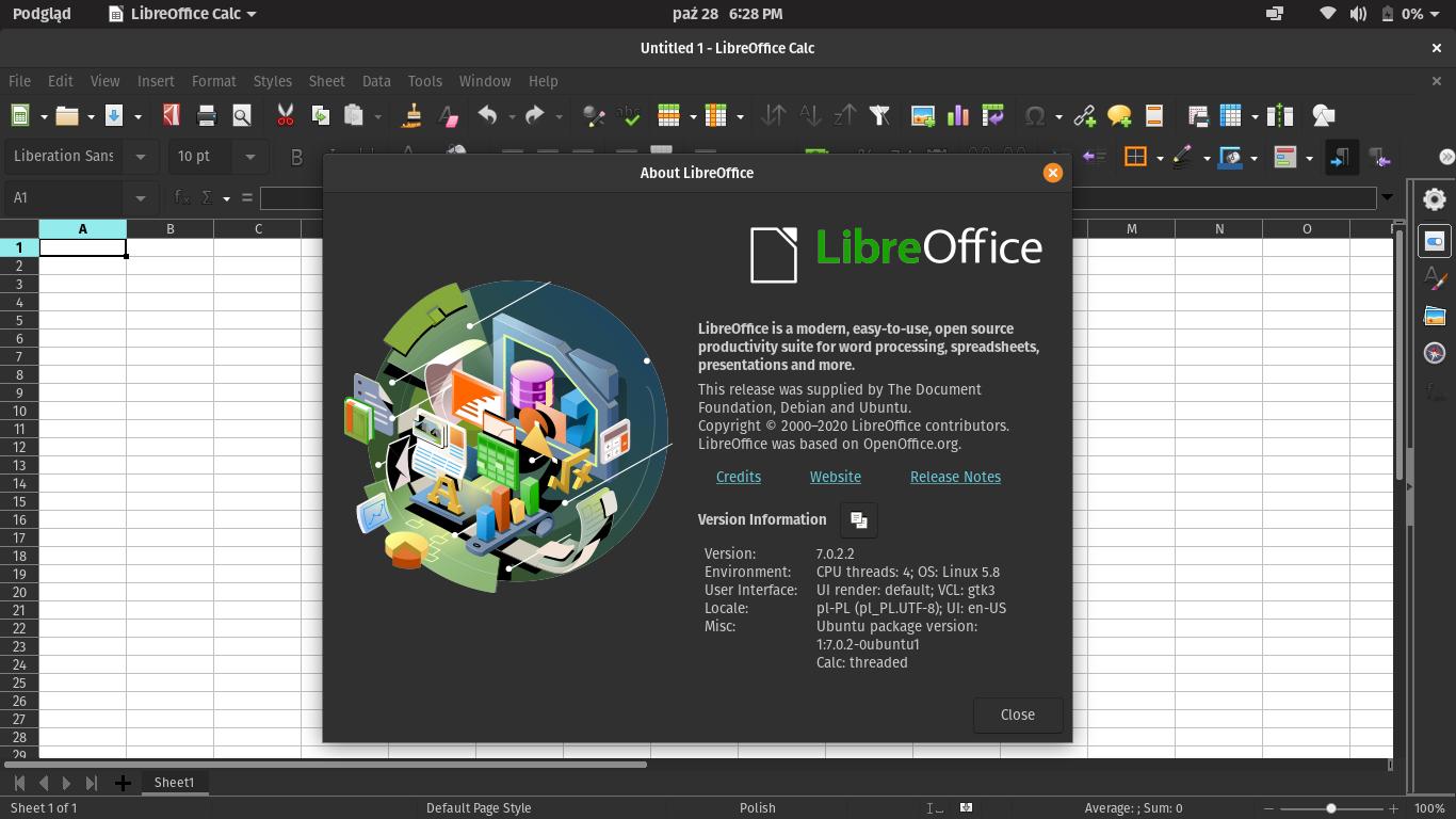 Pop!_OS 20.10 Libre Office 7.0.2.2