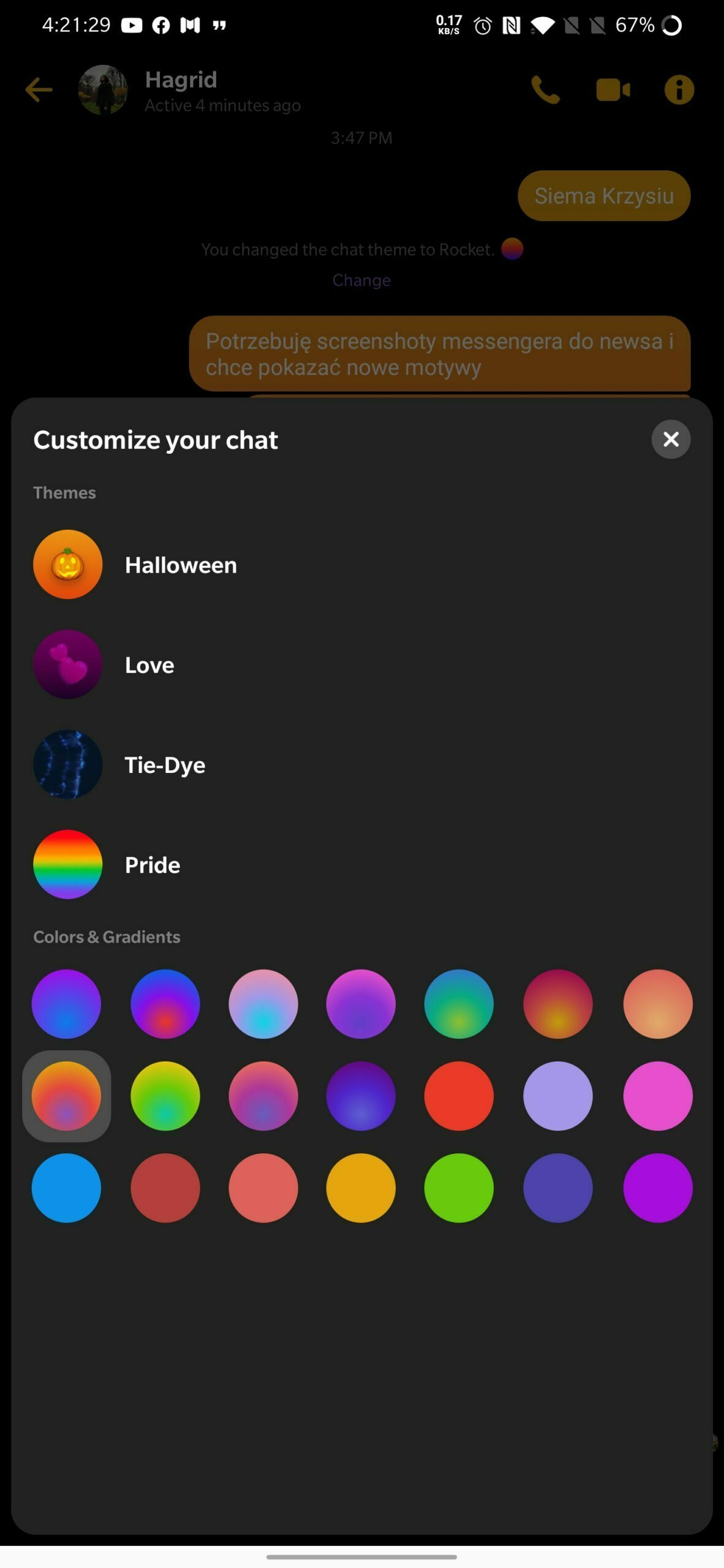 Messenger 2020 New Chat Themes